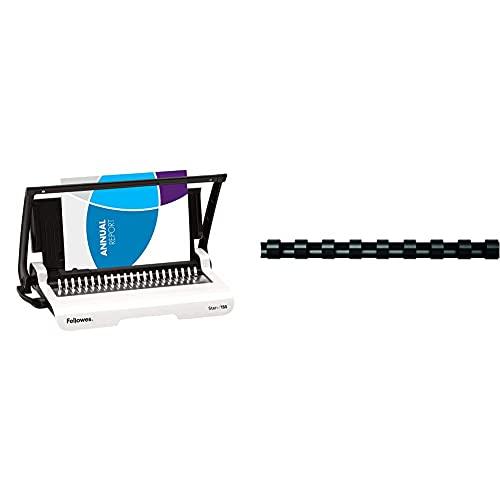 Fellowes Crc56275 Rilegatrice Star+ 150 A Dorsi Plastici, Capacità Di Rilegatura 150 Fogli & Plastic Combs- Round Back - Set Di 25 Dorsi Plastici, 10 Mm, Nero