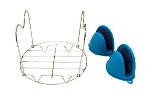 APIKA Hochwertiges Dampfgarer Zahnstange Topfuntersetzer Set-ein Edelstahl Dampfgarer Zahnstange mit Griffen- ein Paar Isolierhandschuhe-für Instant-Topf/Schnellkochtopf 6 oder 8 QT(Blaue Handschuhe)