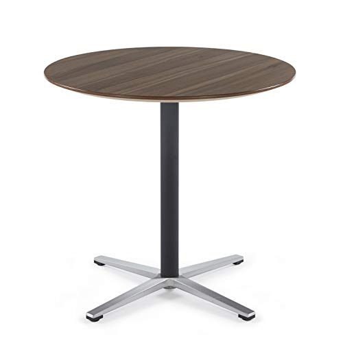 Sunon Round Bistro Table 31.5-Inch Small X-Style Pedestal Pub Table Office Table (Kass Walnut,29.5-Inch Height)