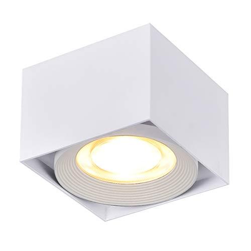LANBOS 10W Lámpara de techo LED,Foco LED para techo,Focos de techo,Lámpara de salón,Luz de techo led,Plafón con Focos,luz blanco cálido, 3000K, IP20, 10X7CM (blanco+blanco cálido)