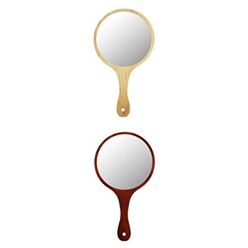 MagiDeal 2 pièces Miroir à Main Miroir de Maquillage de Beauté, Miroir de Voyage Style Rétro, Cadeau idéal pour Femme Fille