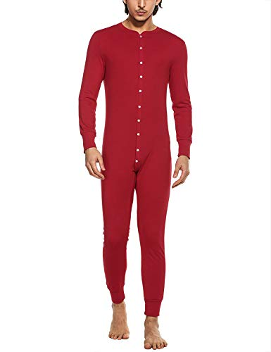 MAXMODA Herren Thermounterwäsche Jumpsuit Thermowäsche Overall und Baumwolle Strampler für Erwachsene,Rot,L