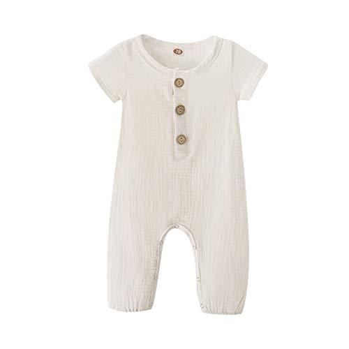 Infant Baby Jumpsuit Girl Romper Cotton Linen Short Sleeve Romper One-Piece Bodysuit Outfit Clothes Summer White 3-6 Months