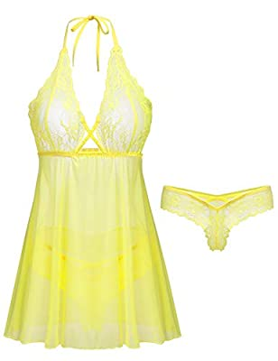 Womens Sexy Lace Lingerie Baby Doll Chemise Christmas Mesh Nighty with G-String(Yellow, Medium)