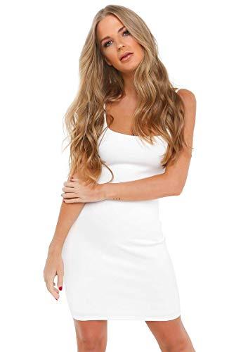 Uni-Wert Mujer Camisón Tirantes Verano Algodón Sexy y Elegante Pijama Largo Modal Ropa de Dormir de Cuello V Vestido (S, Blanco - 1)