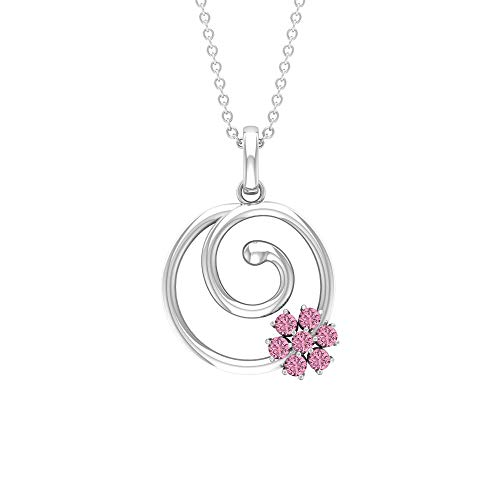 1/4 CT Tourmaline Pendant Necklace, Spiral Gold Necklace, Cluster Flower Pendant, 18K White Gold Without Chain