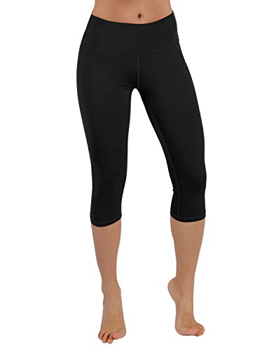 ODODOS Power Flex Yoga Capris Tummy Control Workout Non See-Through Pants with Pocket,Black,Medium