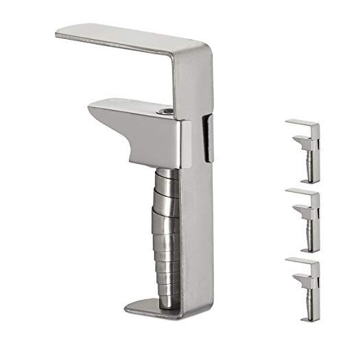 Relaxdays 4er Set Tischklammern, verstellbare Tischdeckenklammern für dicke Tische, Edelstahl, bis 5,4 cm Stärke, silber