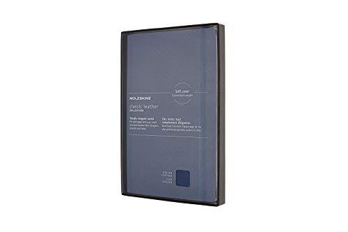 Moleskine Leather Notebook, Taccuino in Pelle Pagina a Righe, Edizione Limitata con Cofanetto e Coperchio, Copertina Morbida, Formato Large 13 x 21 cm, Blu non ti scordar di me, 176 Pagine
