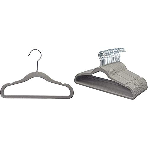 Amazon Basics Kinderkleiderbügel mit Samtbezug, 30er-Pack, Grau & Kleiderbügel für Anzug / Kostüm, mit Samt überzogen, 30er-Pack, grau