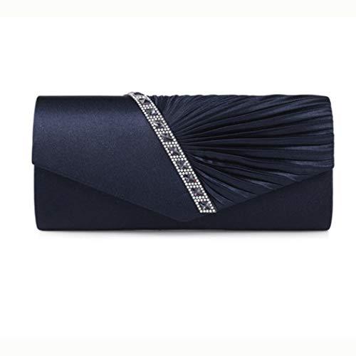 Ys-s Personalización de la Tienda Bolso Crossbody de Rhinestone Swill Rhinestone (Color : Dark Blue, Size : 27cm × 5cm × 11cm)