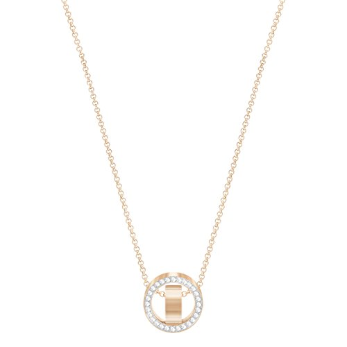 Swarovski Hollow Pendant, 38 cm long, Women's Necklace with Sparkling White Crystals, Rose-Gold Tone Plated Metal, from Swarovski Hollow Collection