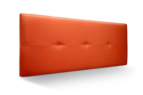 Cabecero de Madera Jazmin, tapizado Acolchado en Polipiel Color Naranja. Cabeceros Madera para Dormitorio   Cama Matrimonio   Cama Juvenil   Camas de 135 cm, 140 cm, 150 cm, 160 cm