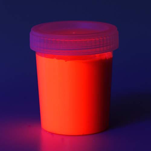 decomonkey   90 ml Fluoreszierende Schwarzlicht Wandfarbe und für Kunst, Holz, Papier und Wohnraum   Neon Leuchtfarben mit Glow-Effekt   Fluoreszierende Farbe   Farbe: rot