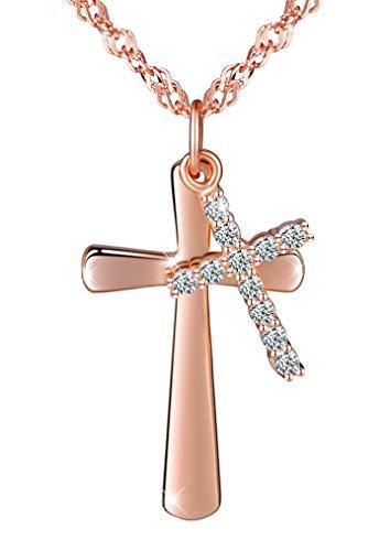 Infinito U- Collares Mujer de Plata de Ley 925 Colgante de Doble Cruces con Diamante Brillante Idea Regalo Navidad para Mujeres Chicas