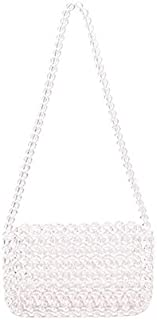 TOOGOO Handmade Transparent Beaded Bag Woven Bag Shoulder Bag Acrylic Plastic Slung Shoulder Bag(Small Transparent)