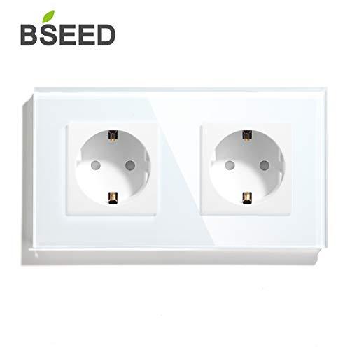 BSEED AC Power 16 Amp 250 V Wandsteckdose Getrennte Paar Schuko Doppel Stecker EU Standard 157 * 86mm Weiß