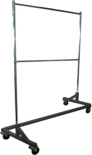 GR600-EH Deluxe Commercial Grade Rolling Z Garment Rack, 400lb Capacity, 63' Length with Add-On Extra Double Rail, Adjustable Height Chrome Uprights and Black Base, One Rack