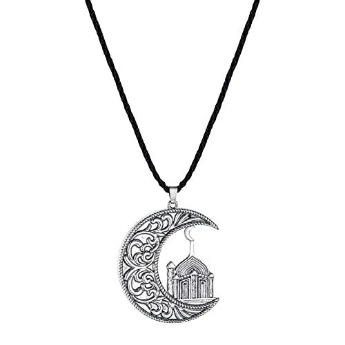 Astemdhj Halskette Männer Ketten Anhänger Trendy Ancient Moon Und Moschee Islamic Anhänger Halskette Für Männer Kinderwagen Charm Boy Halskette Nordic Men Schmuck Vn184-Silber