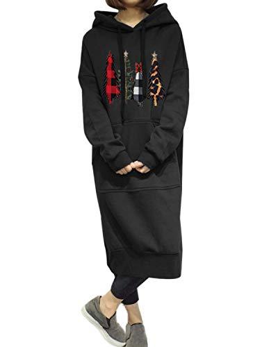 Style Dome Sudaderas con Capucha para Mujer Manga Larga Vestidos Sudadera Navidad Largas Tallas Grandes Jersey Pullover Manga Larga Vestido para Navidad Otoño Invierno 004-Negro L