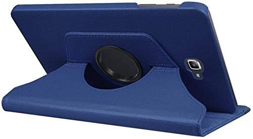 YYLKKB para Samsung Galaxy Tab A A6 10.1 2016 SM-T580 T580N T585 T585C Funda para Tableta Soporte Giratorio de 360 Grados Funda Protectora de Cuero-Azul Oscuro