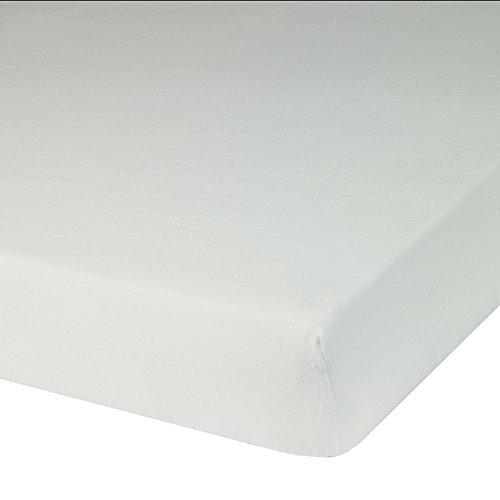 Blanc des Vosges Molleton 200gr/m² thermoregulant Alèze Housse avec 4 Têtes, Coton, Blanc, 140x190 cm
