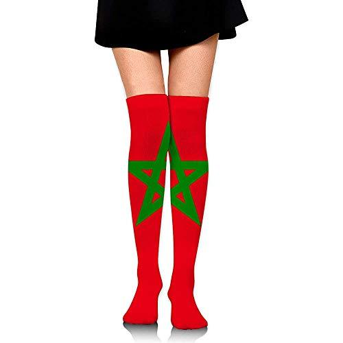 Voorraad Originaliteit Marokko Vlag Lange Sokken Party Vrouwen Boot Voorraad Kleurrijke Comfortabele Jurk Hardlopen Compressie Sokken Casual Cosplay Knie Hoge Sokken Mode Zacht