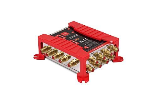 Red Opticum Opticum OMS 5/8 PRO Multischalter für den Empfang Einer Satellitenposition an bis zu 8 Teilnehmer/vergoldete Kontakte / 4K, 3D, UHD tauglich/Quattro LNB geeignet
