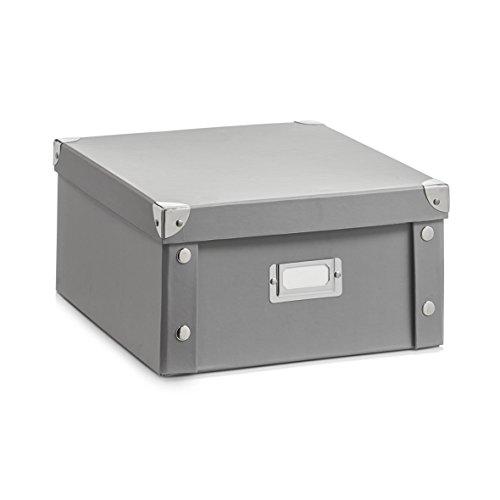 Zeller 17598 Caja de almacenaje de cartón Gris (Grau) 31 x 26 x 14 cm