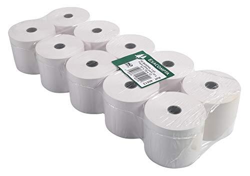 Exacompta 40512E Packung (mit 10 Kassenrollen, ideal für Kassen und Tischrechner, 60g/mq, Breite: 57mm, Durchmesser Kern 12mm, Länge 44m) 1 Pack, Weiß