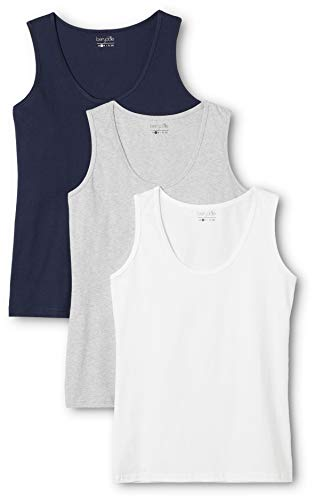Berydale Camiseta sin mangas de mujer, pack de 3, Multicolor (Dunkelblau/grai/weiß), Large