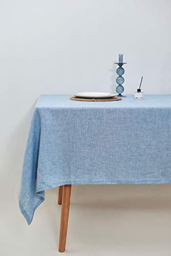 Mantel de Lino Azul Carolina. Manteles de Mesa Cuadrados, rectangulares, Redondos y Personalizados Disponibles. Lino 100% Europeo. Hecho en España.