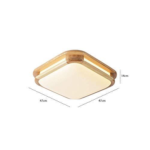LAMP Home slaapkamer plafondlamp, LED houten plafondlamp, plafondlamp rechthoekig hout woonkamer lamp houten lamp plafond eiken lamp met LED binnenverlichting plafondlamp plafondspot (grootte: 47 * White Light 24W