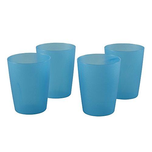 keeeper Vasos de plástico, Juego de 4, Reutilizables, 250 ml, Ø 7 X 9,5 cm, Alessandro, Azul transparente