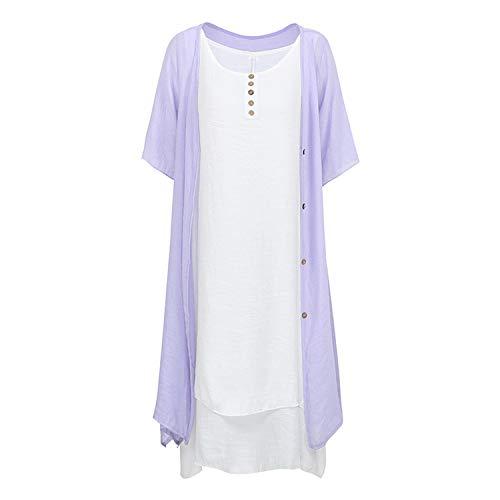 Women Two Piece Set Dress Loose Sleeveless O-Neck Plus Size Dress Sundress Cardigan Dress Vintage Outfits Suit Set Purple