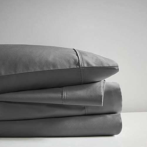 4 Piece Bed Sheet Set 100% Natural Long Staple Cotton 800-Thread-Count Ultra Soft Set Breathable Sateen Weave, Fits Mattress Up to 14' Deep Pocket - Black Sheets & Dark Grey, Cal-King Size