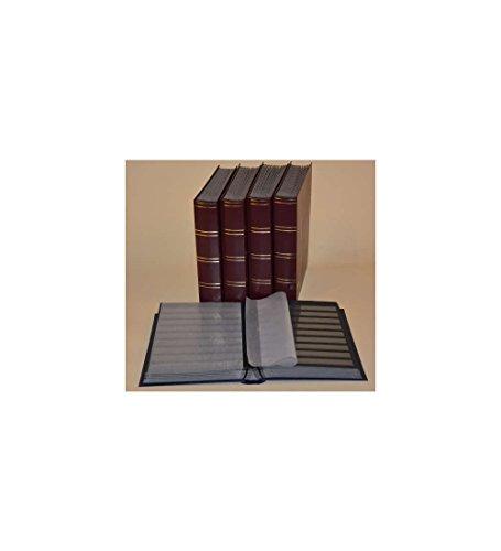 Goldhahn Briefmarkenalbum, Einsteckbuch, Einsteckalbum, 60 Schwarze Seiten, dunkelroter Einband -5er Karton Briefmarken für Sammler