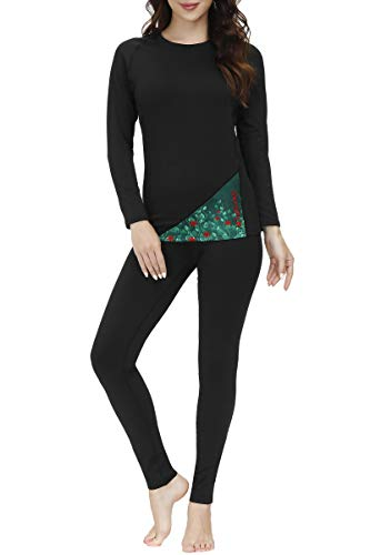 SKYSPER Ropa Interior Térmica Mujer Conjuntos Térmicos Camiseta Térmica Manga Larga Pantalones Largos de Compresión Mujer Deportes Termo Invierno Otoño para Running Esquí Montaña Ciclismo Fitness
