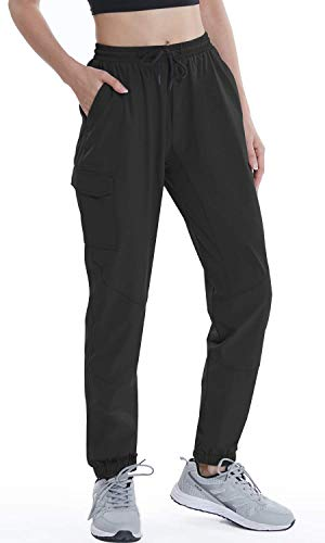VAYAGER Women's Hiking Cargo Pants for Running,Travel and Work Waterproof,UPF,Drawstring and Quick Drying with 5 Pockets(Black XS)