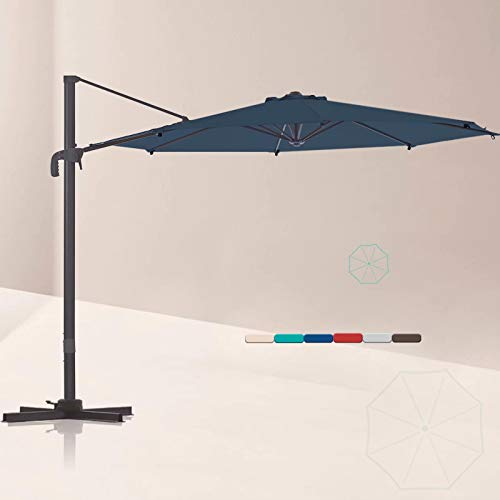 LE CONTE Lyon 10 ft. Cantilever Umbrella with 360 Degree Rotation | Outdoor Aluminum Offset Patio Umbrella Market Hanging Umbrellas | Solution Dyed Fabric, Tilting and Cross Base (Classic Blue)