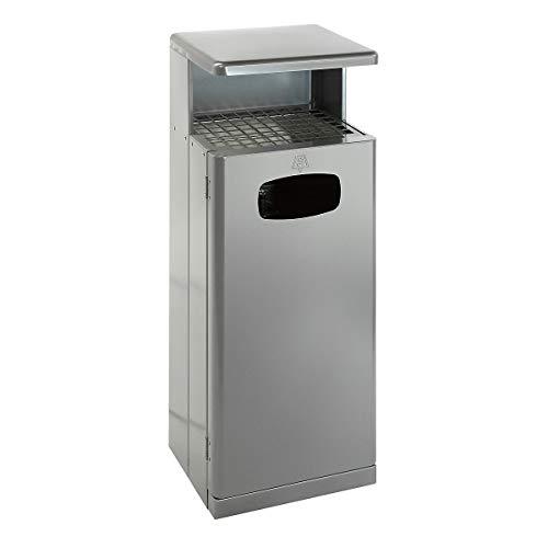 Collecteur de déchets avec toit muni d'un cendrier, aluminium, gris