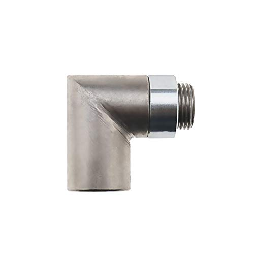 90 Grad Abstandshalter für Sauerstoffsensor Extender mit Sicherungsmutter aus Edelstahl zur Verbesserung Abgasverbindung M18X1.5