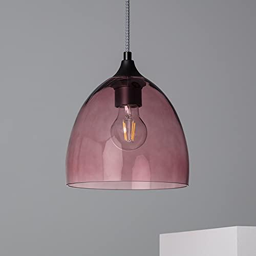 LEDKIA LIGHTING Hängeleuchte Gilet 1363x200x200 mm Rosa E27 Glass für Wohnzimmer, Küche, Schlafzimmer