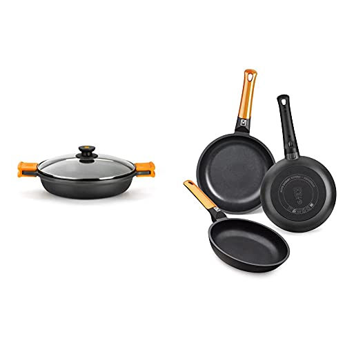 BRA Efficient Cacerola baja con tapa de cristal y asas de silicona extraíbles, apta para todo tipo de cocinas incluida inducción y horno, 40 cm + Efficient Orange Set De 3 Sartenes, Aluminio, Negro