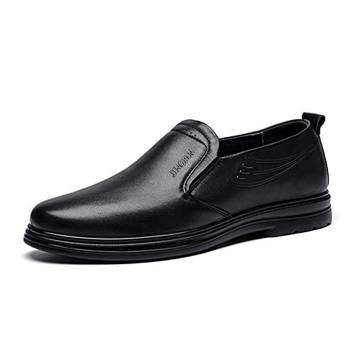 DIYHM Mocasines ocasionales para hombres Resbalón de cuero genuino en el dedo redondo Despliegue de zapatos con toque monotónico flexible. (Color : Black, Tamaño : 41 EU)