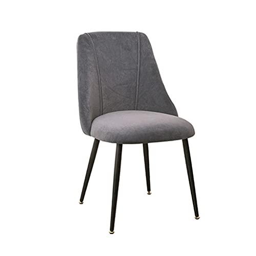 SYN-GUGAI Möbel Velvet Dining Chair Stoff Gepolsterter Moderner Akzentstuhl Wohnzimmer Einfaches Design Armlose Seitenstühle Küchenstuhl Mit Metallbeinen (Color : Grey Black Legs)