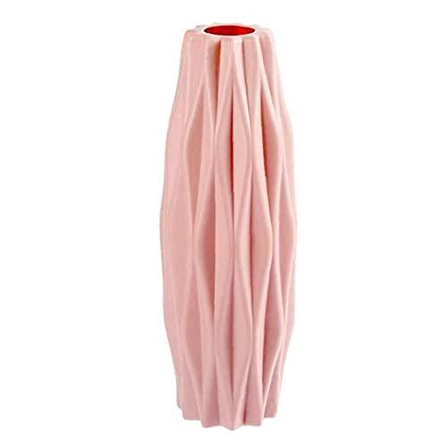 Uayasily Pote De Cerámica Nórdico Pote De Origami Jarrón De Plástico Botella Sala De Estar Centros De Mesa Decoración del Hogar (Rosa)