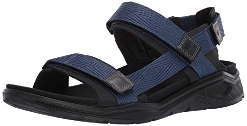 ECCO Men's X-Trinsic Strap Sandal, Black/True Navy Textile, 45 M EU (11-11.5 US)