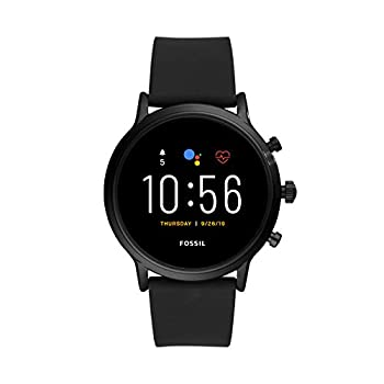 Fossil 44mm Gen 5 Carlyle Stainless and Silicone Touchscreen Smart Watch with Heart Rate Color  Black  Model  FTW4025