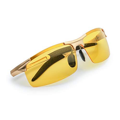 Myiaur HD Gelben Nachtsichtbrille Autofahren Sport Heiß Stil Polarisiert für Herren mit Ultra Leicht Metallrahmens Entspiegelten Sonnenbrillen - 100{76c2df1ed68d7ee554d545aed58ab45ac0e611869d31bc0b52508a04864b5eca} UVA UVB Schut